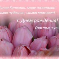Открытка - Розовые тюльпаны - для Катюши. Милая Катюша, море позитива! Самая чудесная, самая красивая! С Днём рождения! Счастья и улыбок!