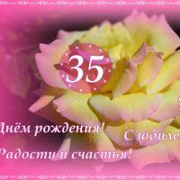 Роза в розовом обрамлении, открытка с 35-летием