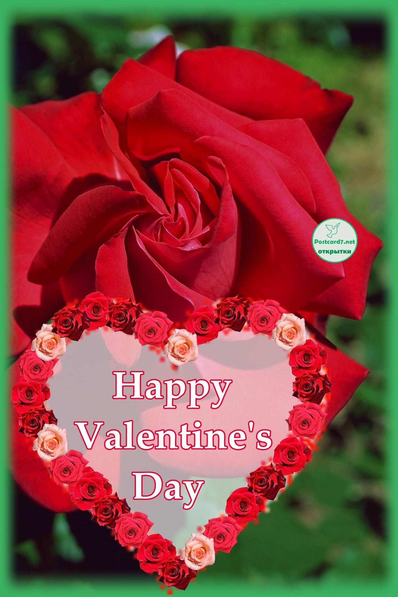 Валентинка с красной розой и сердечком