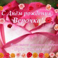 С Днём рождения, Верочка! Открытка с розами