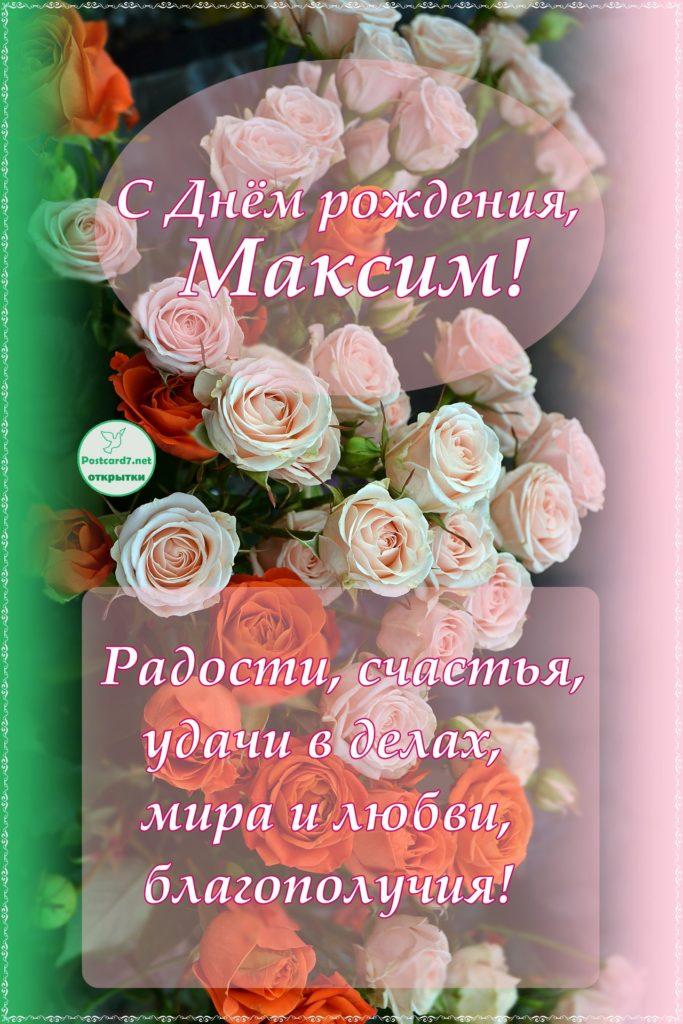 Открытка с розами, Максиму с Днём рождения
