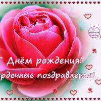 С Днём рождения, открытка с розой и сердечками