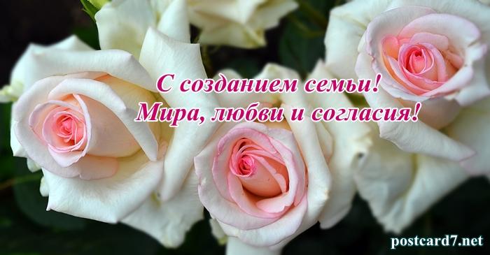 свадебная открытка, три розы
