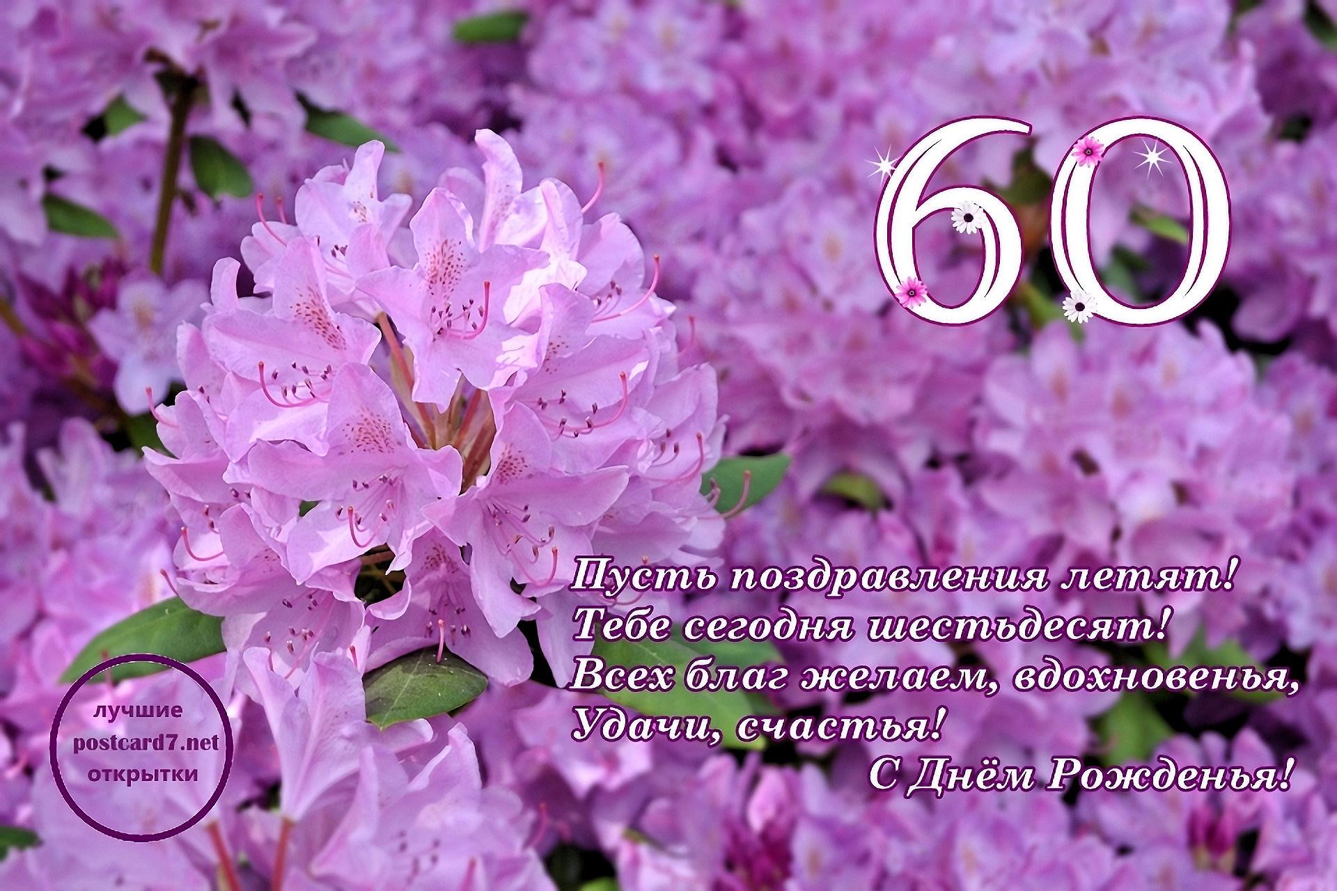 60 лет, открытка, стихи, сиреневые цветы